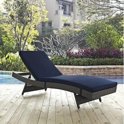 Sojourn Chaise Lounge with Cushion Fabric: Navy