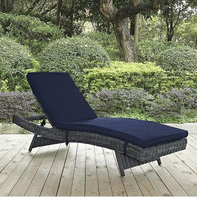 Summon Chaise Lounge with Cushion Fabric: Navy