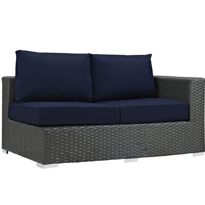 Sojourn Right Arm Loveseat Sectional Piece with Cushions Fabric: Navy