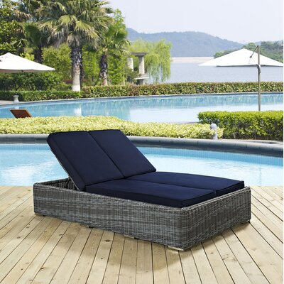 Summon Double Chaise Lounge with Cushion Fabric: Navy