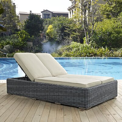 Summon Double Chaise Lounge with Cushion Fabric: Beige