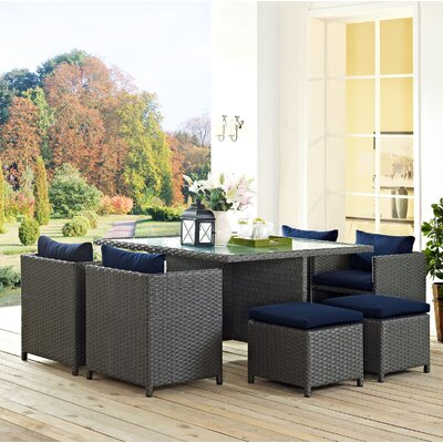 Sojourn 9 Piece Dining Set with Cushion Cushion Color: Navy