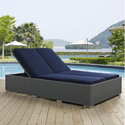 Sojourn Double Chaise Lounge with Cushion Fabric: Navy