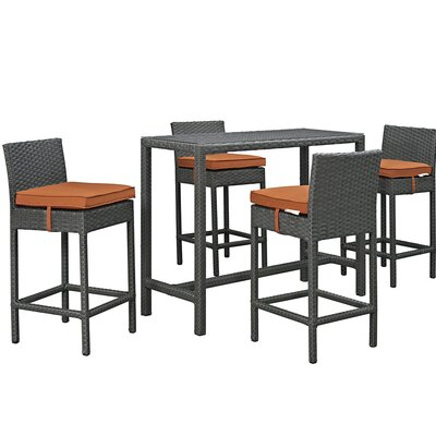 Sojourn 5 Piece Bar Set with Cushion Cushion Color: Tuscan