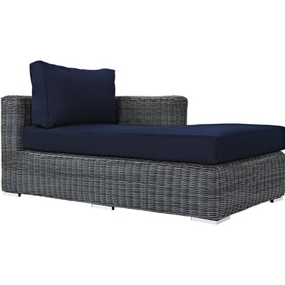 Summon Right Arm Chaise Sectional Piece with Cushions Fabric: Navy
