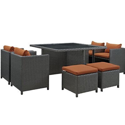 Sojourn 9 Piece Dining Set with Cushion Cushion Color: Tuscan