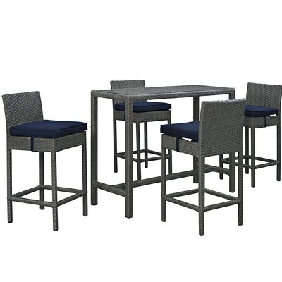 Sojourn 5 Piece Bar Set with Cushion Cushion Color: Navy