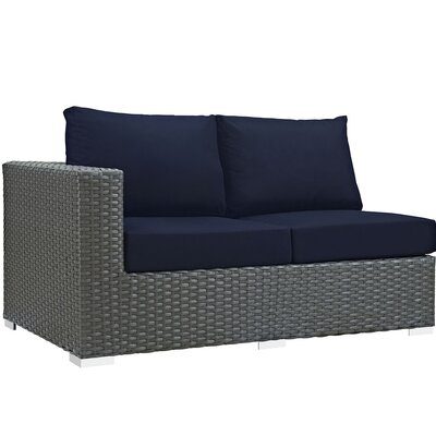 Sojourn Left Arm Loveseat Sectional Piece with Cushions Fabric: Navy
