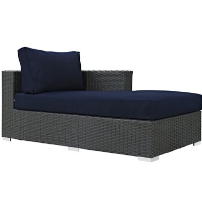 Sojourn Right Arm Chaise Sectional Piece with Cushions Fabric: Navy