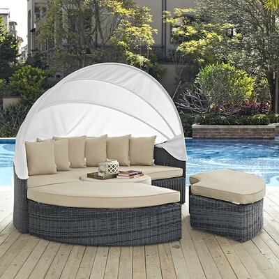 Summon Daybed with Cushions Fabric: Antique Beige