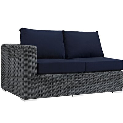 Summon Left Arm Loveseat Sectional Piece with Cushions Fabric: Navy