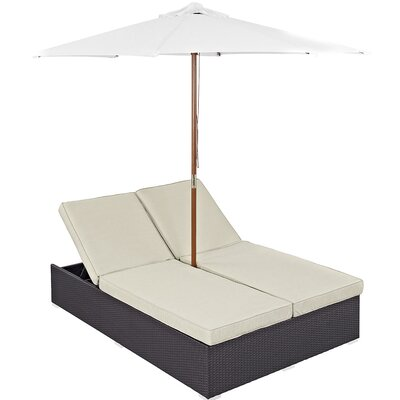 Double Chaise Lounge with Cushion EEI-980-EXP-BEI