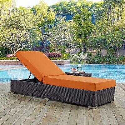 Convene Chaise Lounge with Cushion Fabric: Orange