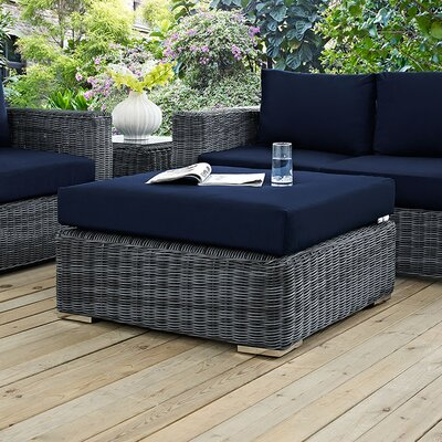 Summon Ottoman with Cushion Fabric: Navy