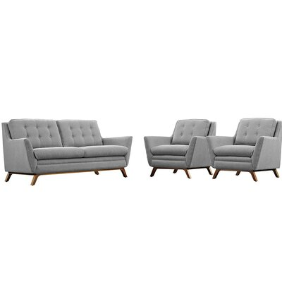 Beguile 3 Piece Living Room Set Upholstery: Light Grey