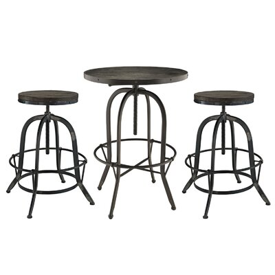 Sylvan 3 Piece Pub Table Set Finish: Black