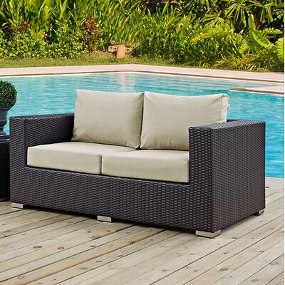 Anika Patio Loveseat with Cushions Fabric: Beige