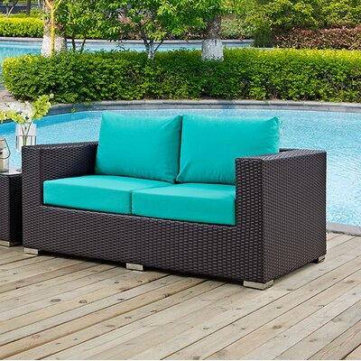 Anika Patio Loveseat with Cushions Fabric: Turquoise