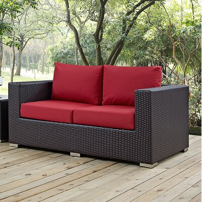 Anika Patio Loveseat with Cushions Fabric: Red