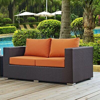 Anika Patio Loveseat with Cushions Fabric: Orange