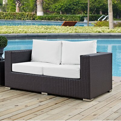 Anika Patio Loveseat with Cushions Fabric: White