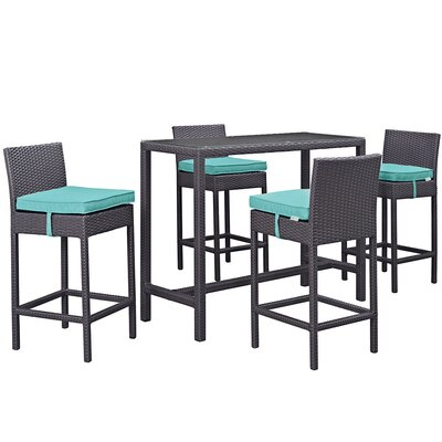 Ryele 5 Piece Bar Set with Cushion Cushion Color: Turquoise