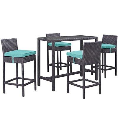 Convene 5 Piece Bar Set with Cushion Cushion Color: Turquoise