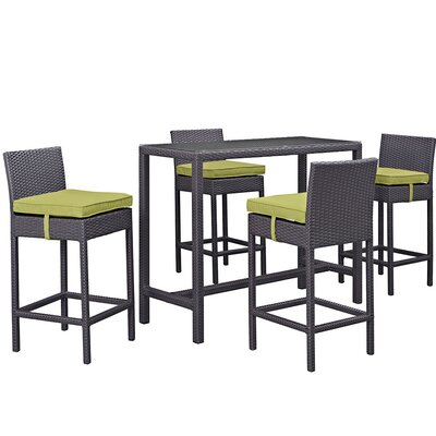Convene 5 Piece Bar Set with Cushion Cushion Color: Peridot