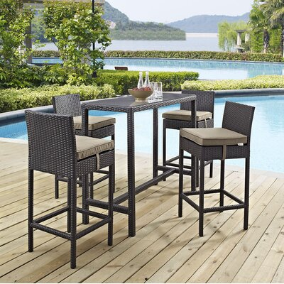 Ryele 5 Piece Bar Set with Cushion Cushion Color: Mocha