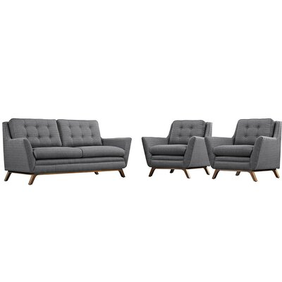 Beguile 3 Piece Living Room Set Upholstery: Dark Grey