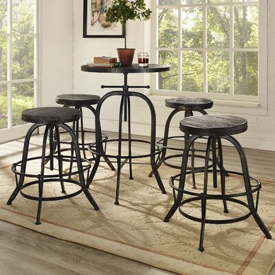 Gather 5 Piece Dining Set Finish: Black