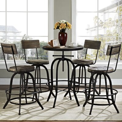Gather 5 Piece Dining Set Color: Brown