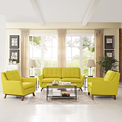 Beguile 3 Piece Living Room Set Upholstery: Sunny