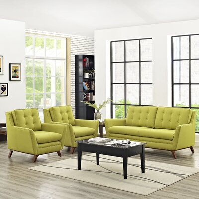 Beguile 3 Piece Living Room Set Upholstery: Wheatgrass