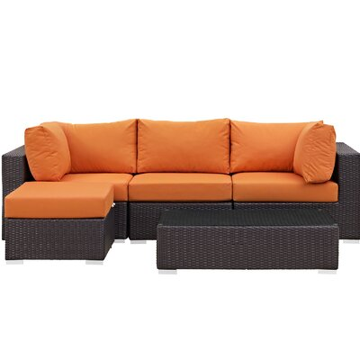 Ryele Contemporary 5 Piece Deep Seating Group with Cushion Fabric: Orange
