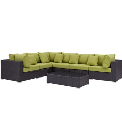 Ryele 7 Piece Rattan Deep Seating Group with Cushion Fabric: Peridot