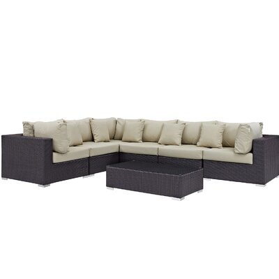 Ryele 7 Piece Rattan Deep Seating Group with Cushion Fabric: Beige