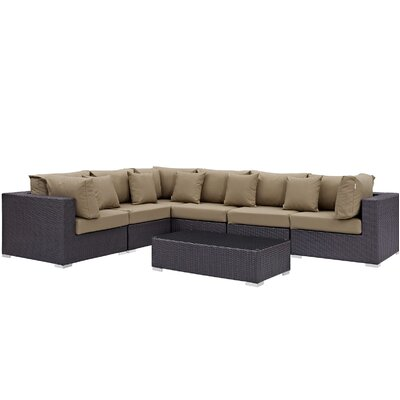 Ryele 7 Piece Rattan Deep Seating Group with Cushion Fabric: Mocha