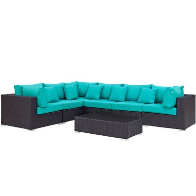 Ryele 7 Piece Rattan Deep Seating Group with Cushion Fabric: Turquoise