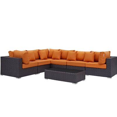 Ryele 7 Piece Rattan Deep Seating Group with Cushion Fabric: Orange