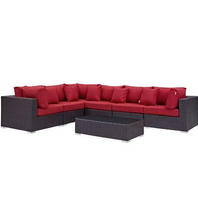Convene 7 Piece Deep Seating Group with Cushion Fabric: Red