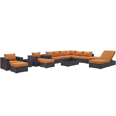 Ryele 12 Piece Deep Seating Group with Cushion Fabric: Orange