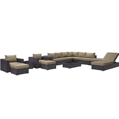 Ryele 12 Piece Deep Seating Group with Cushion Fabric: Mocha