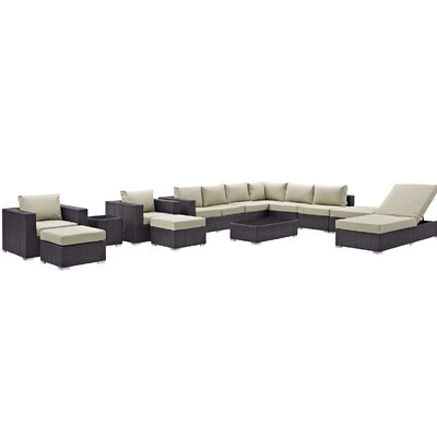 Ryele 12 Piece Deep Seating Group with Cushion Fabric: Beige
