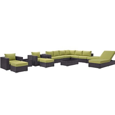 Convene 12 Piece Deep Seating Group with Cushion Fabric: Peridot