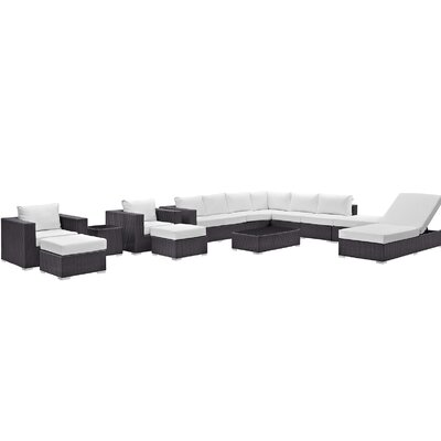 Convene 12 Piece Deep Seating Group with Cushion Fabric: White