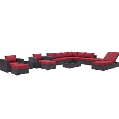 Ryele 12 Piece Deep Seating Group with Cushion Fabric: Red