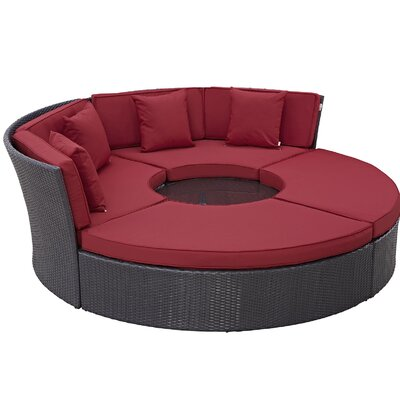 Ryele Circular 5 Piece Deep Seating Group with Cushion Fabric: Red