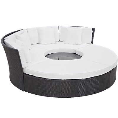 Ryele Circular 5 Piece Deep Seating Group with Cushion Fabric: White