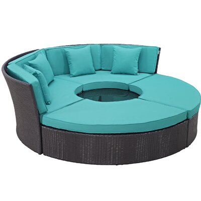 Ryele Circular 5 Piece Deep Seating Group with Cushion Fabric: Turquoise